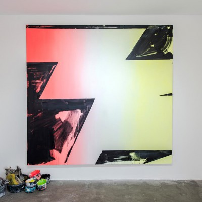 Phil Ashcroft, Qwazars, acrylic on canvas, 200 x 200cm, work in progress, July 2016. Photo: Tom Horak